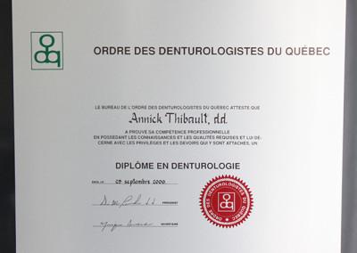Diplôme Annick Thibault, d.d