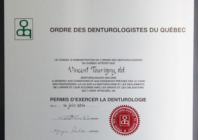 Diplôme Vincent Tourigny, d.d